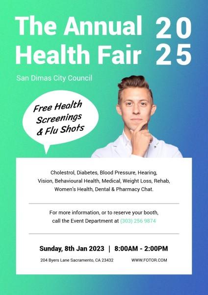 Green Blue Annual Health Fair Poster
