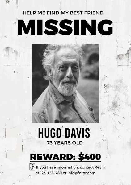 Gray Missing Poster Poster