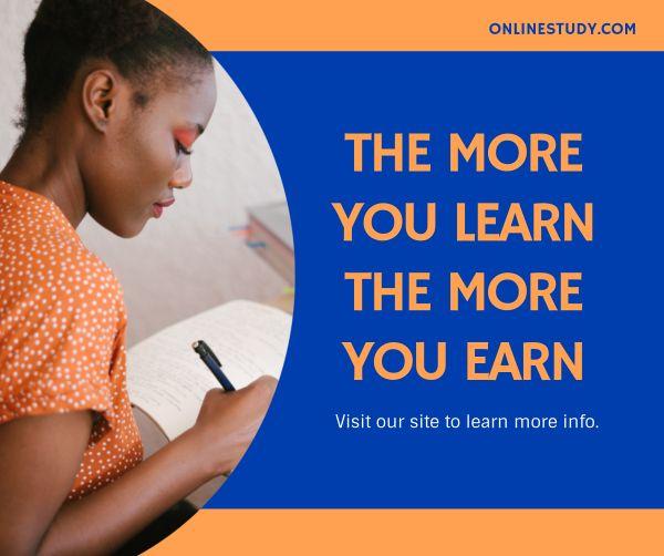 Orange And Blue Online Study Facebook Post Facebook Post