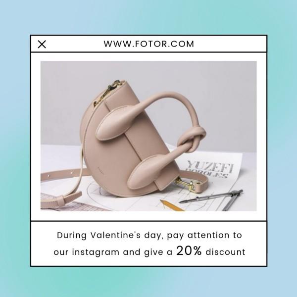 Blue Woman Bag Valentine's Day Sale Instagram Post