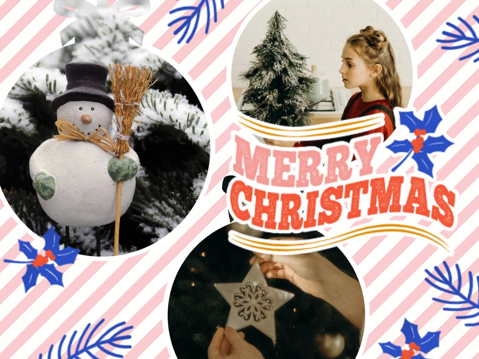 Pink And White Winter Christmas Collage
