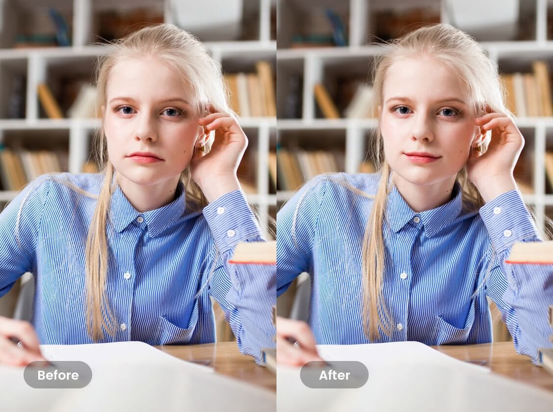 Reshape Girl's Mouth Into Smile Face