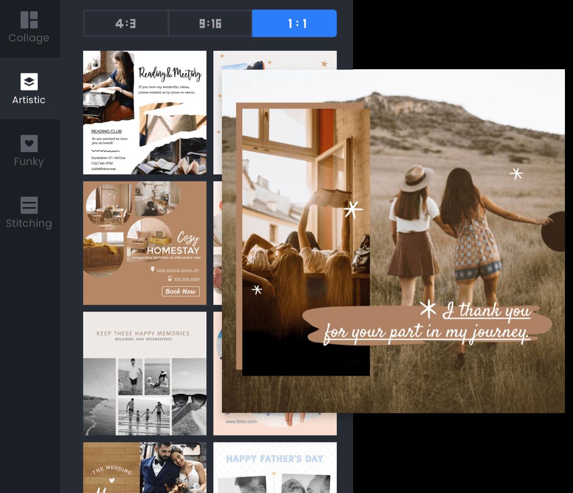 Vida diaria con panel de efectos de collage