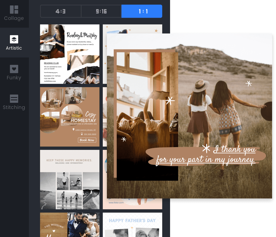 Fotor artistic photo collage template