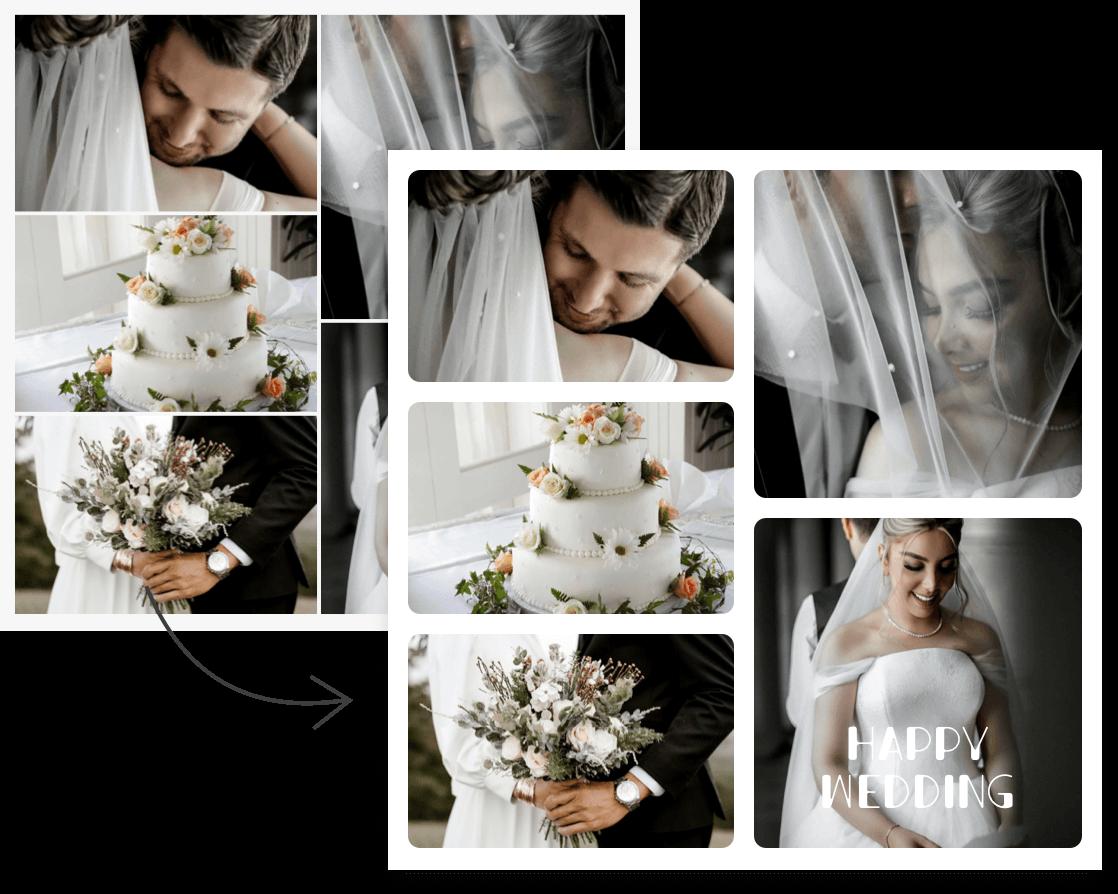 свадьба с эффектами коллажа