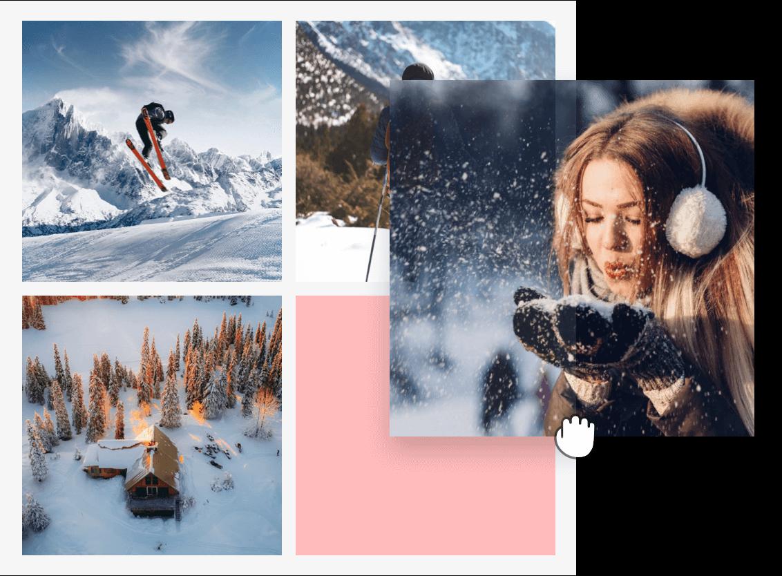 катание на лыжах с эффектами коллажа