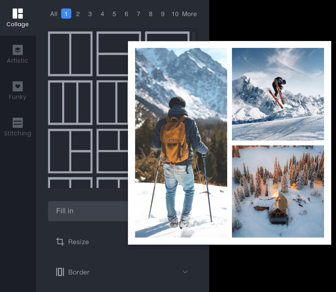 катание на лыжах с панелью эффектов коллажа