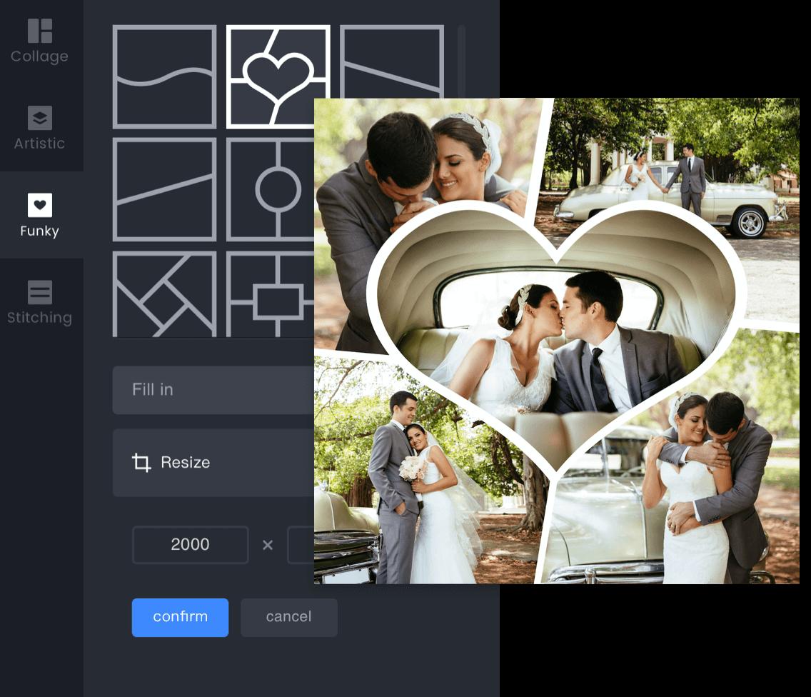 свадьба с панелью эффектов коллажа