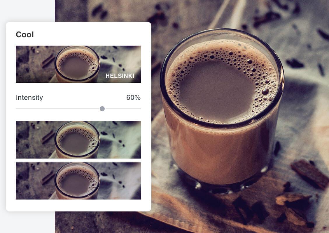 café con efectos fotográficos