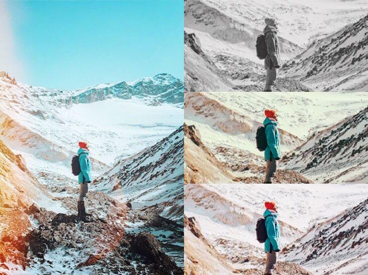 efecto fotográfico de una niña en la montaña