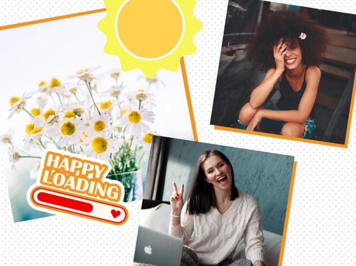 collage de fotos del momento feliz de las niñas