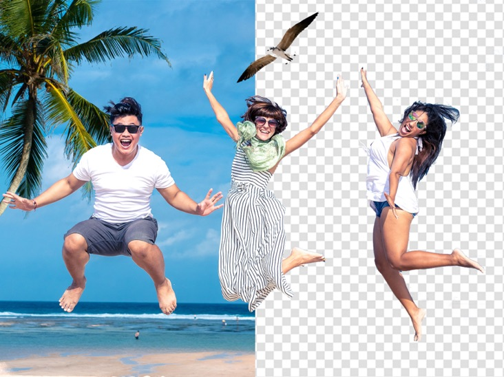Happy in the beach with background remover