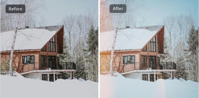 Resultado de antes y después con efecto funky