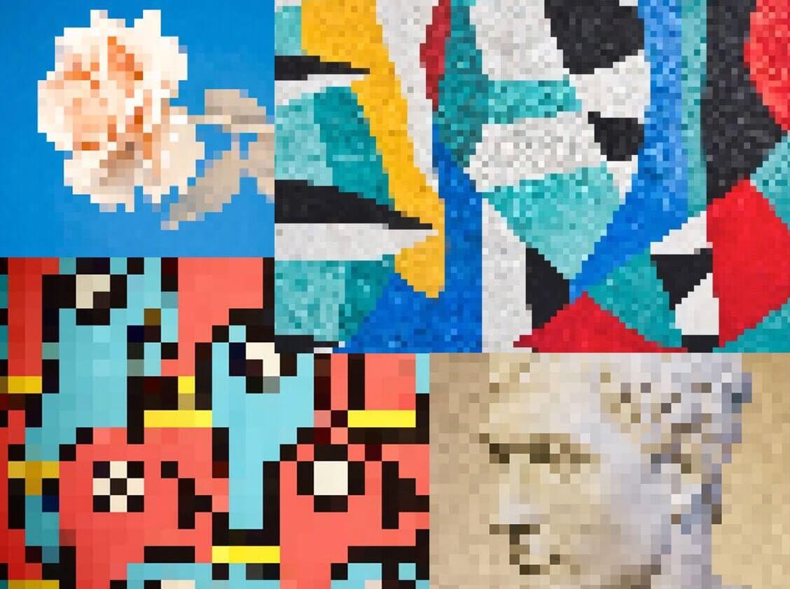 four mosaic art puzzles