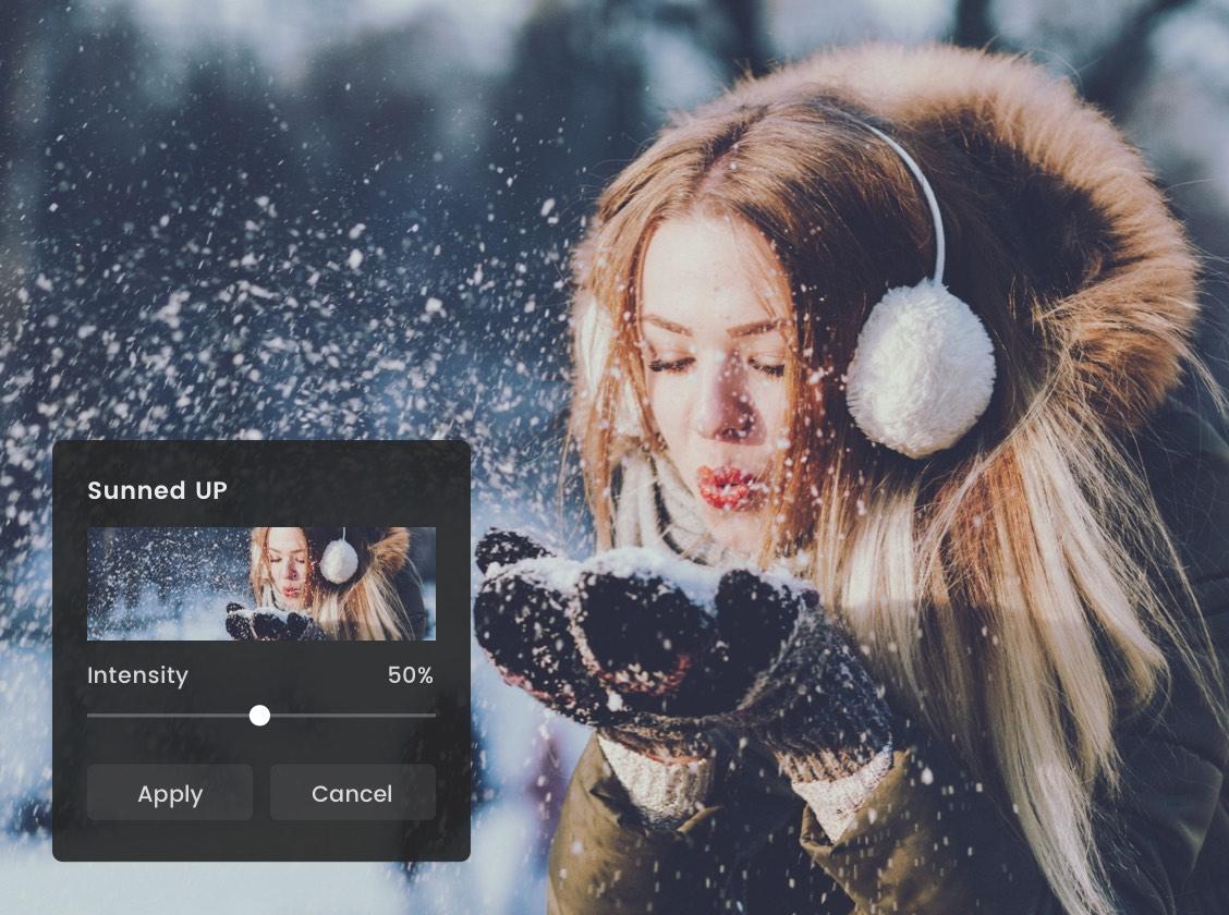 фотоэффект от девушки дует снежинки