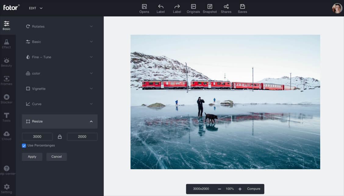 инструмент изменения размера из онлайн-редактора