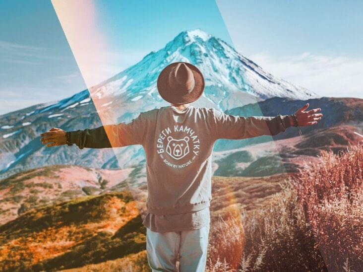 Фотоэффект от человека стоит на горе