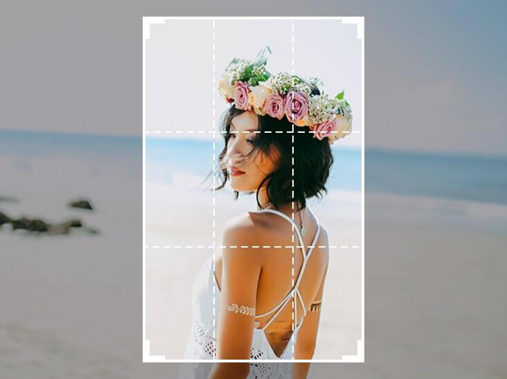 美しい少女から画像をトリミング