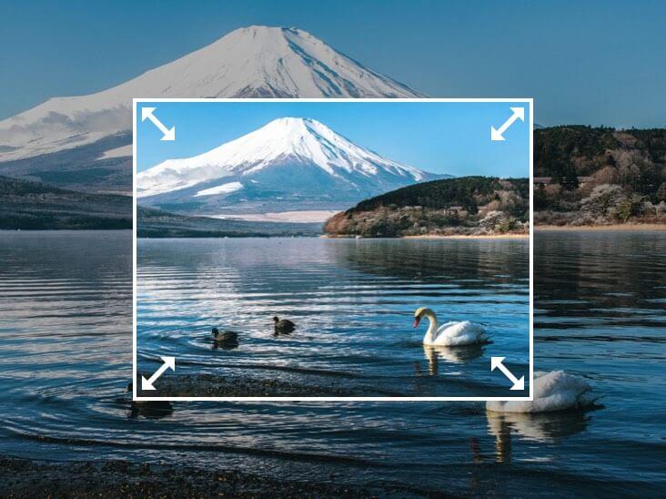富士山の写真のサイズを変更する