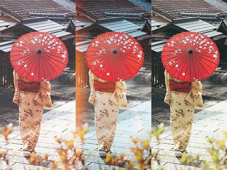 さまざまなフィルターの下で通りに立っている女の子の写真